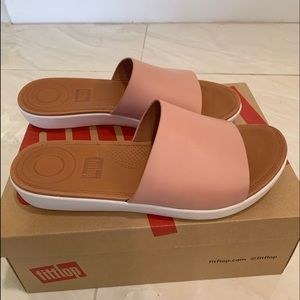Fit Flop Sola Leather Slides In Dusty Pink Size 8
